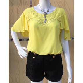 Camiseta Blusa Feminina Manga Curta Em Viscose #855