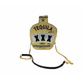 Bolsa Tequila, Moda Divertida, Com Alça Tiracolo Dourado
