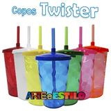 10 Copos Acrílico Shake Twister C/ Tampa Canudo R$2,89 Cada