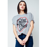 Remera Algodón Talla Unica The Rolling Stones Gris Mujer