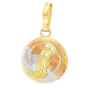 Medalla Circular 3 Oros Virgen Guadalupe Y Cadena De Oro 10k