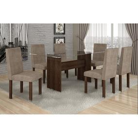 Conjunto Mesa De Jantar Ravena Plus C/ 6 Cadeiras Animale Be