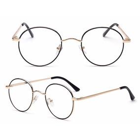 cced51eb4495d Óculos Redondo Metal Preto E Dourado Para Rosto Fino - 1735