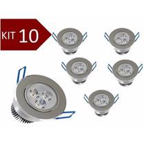 Kit 10 Spot Led 3w Branco Frio Lâmpada Dicroica Direcionável
