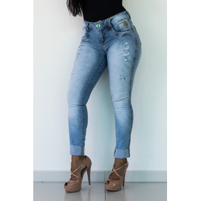 Calça Feminina Jeans Oppnus Cigarrete Cós Médio Lycra 2535