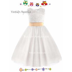 Vestido Fiesta Niña Blanco Bautizo Matrimonio Graduación
