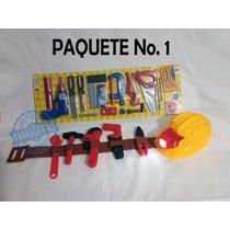 Cinturon Con Herramientas De Juguete Para Niño Casco Con Luz