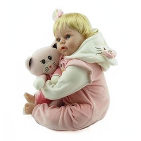 Bebê Boneca Reborn Loirinha Olhos Azuis Parece Bebê Verdade