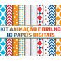 Decorar Caixas 3d - Kit Papel Digital Com Cores Vibrantes