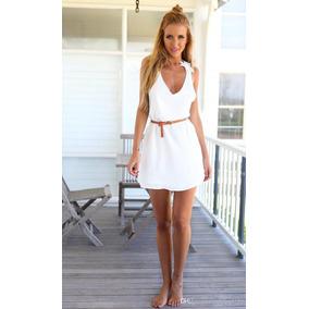 Vestido Casual Para El Verano Con Detalle De Crochet Blanco