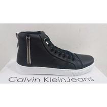 Botina Masculina Calvin Klein Couro Preta