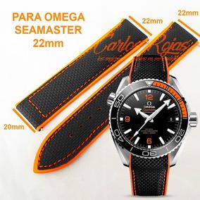 Correa Piel Negra Costuras Naranjas 22mm Para Omega Seamaste
