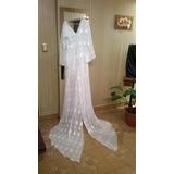 Vestido De Novia Blanco C/capa Organza. Ideal Boda Campestre