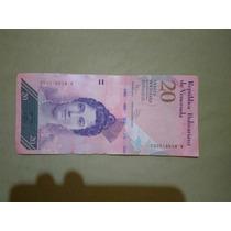 Cedula 20 Bolivares Mbc Venezuela Frete 7$