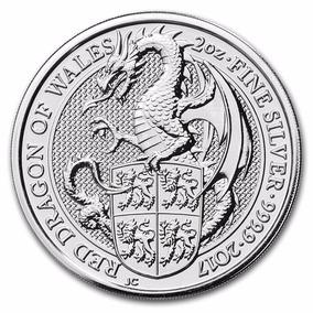 Dragón Rojo 2017 2 Onzas Plata Gran Bretaña Queen`s Beasts