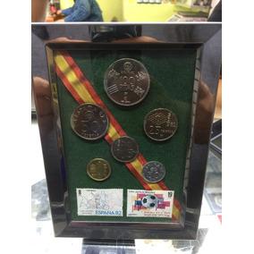 Cuadro Set Monedas Y Timbres Mundial España 82 Envió Gratis