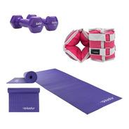 Mat Yoga 6 Mm 2 Mancuernas 1 Kg + Par Tobilleras 1 Kg Cuotas