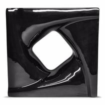 Cobogó Preto Em Cerâmica Esmaltado Para Divisória 20x20x8 Cm