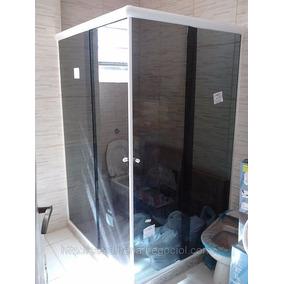 Box De Vidro Fumê Para Banheiro Reto Horizontal Tem. 8mm