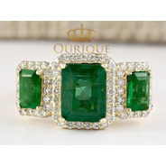 Anel Feminino Formatura Esmeralda E Diamantes Ouro 18k 750