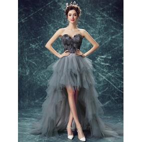 Vestido Formatura Cinza Mullet 34 36 38 40 42 44 46 Va00476