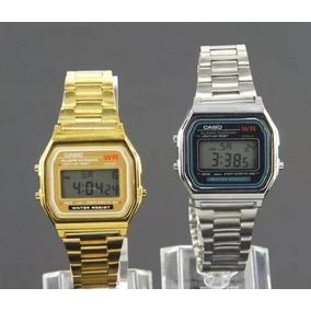 Relógio Aço Cassio Dourado Prata Digital Unissex Vintage Top