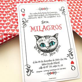25 Invitaciones 15 Años Carta Poker Alicia En El Pais Cumple