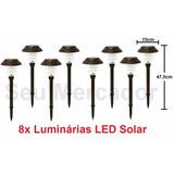 Kit 8 Luminárias De Chão Energia Solar Iluminação De Quintal
