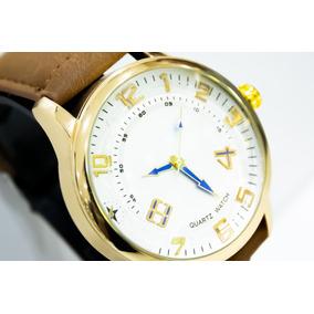 Relógio Analógico Masculino Em Aço Dourado E Couro R85