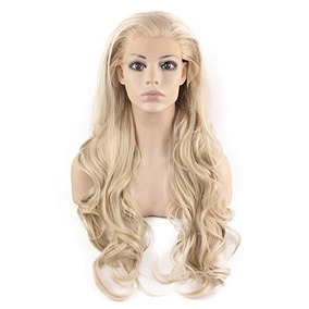 Mxangel Long Wavy Celebrity Natural Hairline Ash Blond Synth