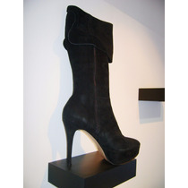 Bucaneras.botas Caña Media Gamuzados/plataf-taco Alto