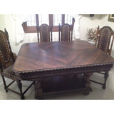 Mesa Com 6 Cadeiras De Antiquário De Madeira Nobre