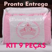 Kit Enxoval Berço 9 Peças Promoção Branco Rosa Aplique Coroa