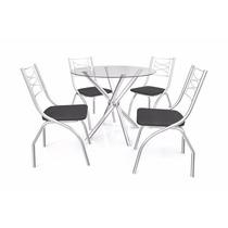 Mesa Cromada 4 Cadeiras Tampo Vidro Kapp 26193