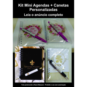Kit 80 Mini Agendas + 80 Canetas Personalizadas + 80 Tags