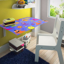 Mesa De Estudo Dobrável Infantil Criança Kids Com 01 Cadeira