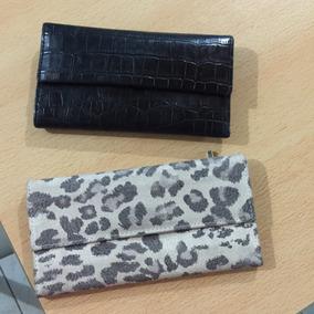 Billeteras Negra Croco D Cuero Y Animal Print