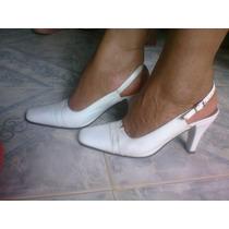 Zapatos De Dama De Piel Blancos.