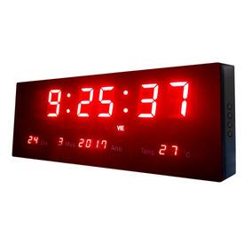 Relógio De Parede Led Luminoso Termômetro Alarme Calendário