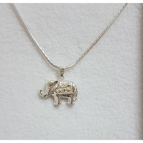 Cadena De Plata 925 + Dije De Plata Y Oro Elefante