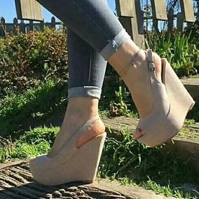 Sapatos Femininos Sandálias Anabela Nobuck