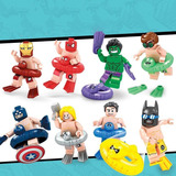 Set Super Heroes Vacaciones En La Playa Compatible Bloques