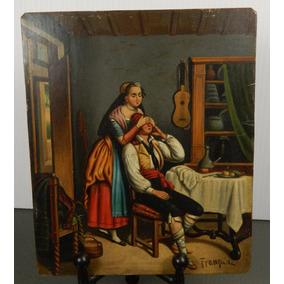 Oleo Quien Crees? Lamina De Zinc Siglo 19 Francés Firmado