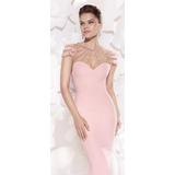 Moda Italiana Elegante Vestido Rosado Pedrería