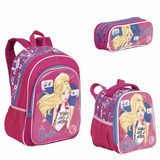 Kit Escolar Barbie 17x Mochila Costas Lancheira E Estojo