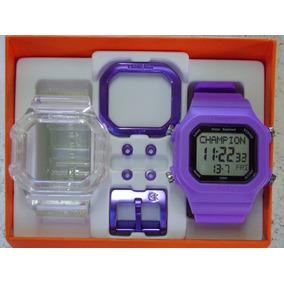 2420238d210 Relógio Champion Yot Original Cp40180x Nf Transparente Roxo