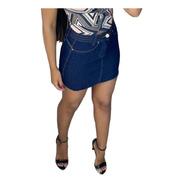Saia Curta Jeans Azul Escura Sc001 By Bellatotti