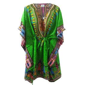 Kaftan Indiana Curta Estampado Vestido Feminino Bata Blusa