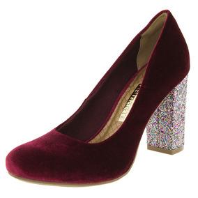 Sapato Feminino Salto Alto Vinho/glitter Via Marte - 172002