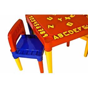 Mesa Infantil Educadora C/ Alfabeto Números E 2 Cadeiras